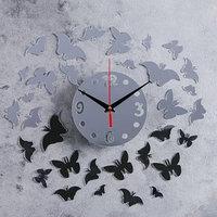 Часы-наклейка DIY 'Бабочки' d15 см, плавный ход, тип батарейки 1 АА (механизм)