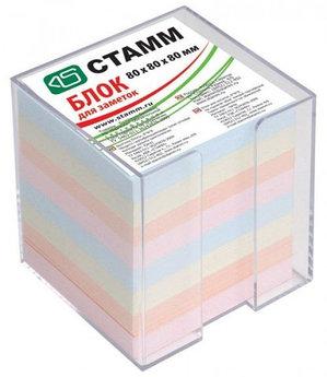 Блок бумаги для записи 8*8*8, цветной, в пластбоксе, прозрачный