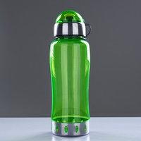 Бутылка для воды 750 мл, с соской, вставка металл на горле и дне, микс, 7.5х24 см