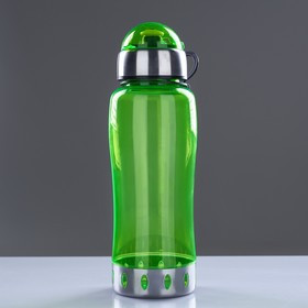 Бутылка для воды 750 мл, с соской, вставка металл на горле и дне, микс, 7.5х24 см - фото 1