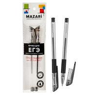 Набор гелевых ручек для ЕГЭ 2 штуки, пулевидный пишущий узел 0.5 мм, чернила чёрные, мягкий упор