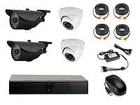 Комплект готового видеонаблюдения на 4 камеры (Камера высокого разрешения AHD 1.0mp)