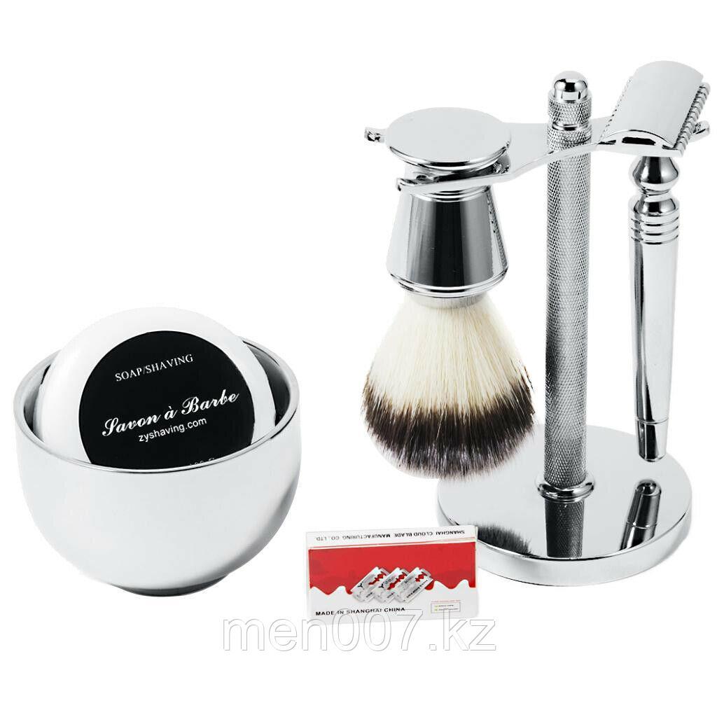 Набор для бритья вместе с мылом, стойкой, чашей и помазком