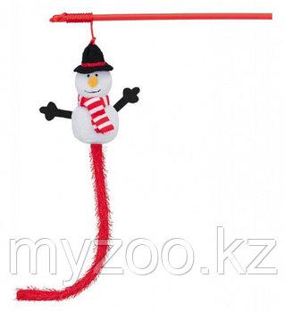 """Игрушка для кошек. Новогодние  игрушки-удочки """"Снеговики"""". 31 см"""