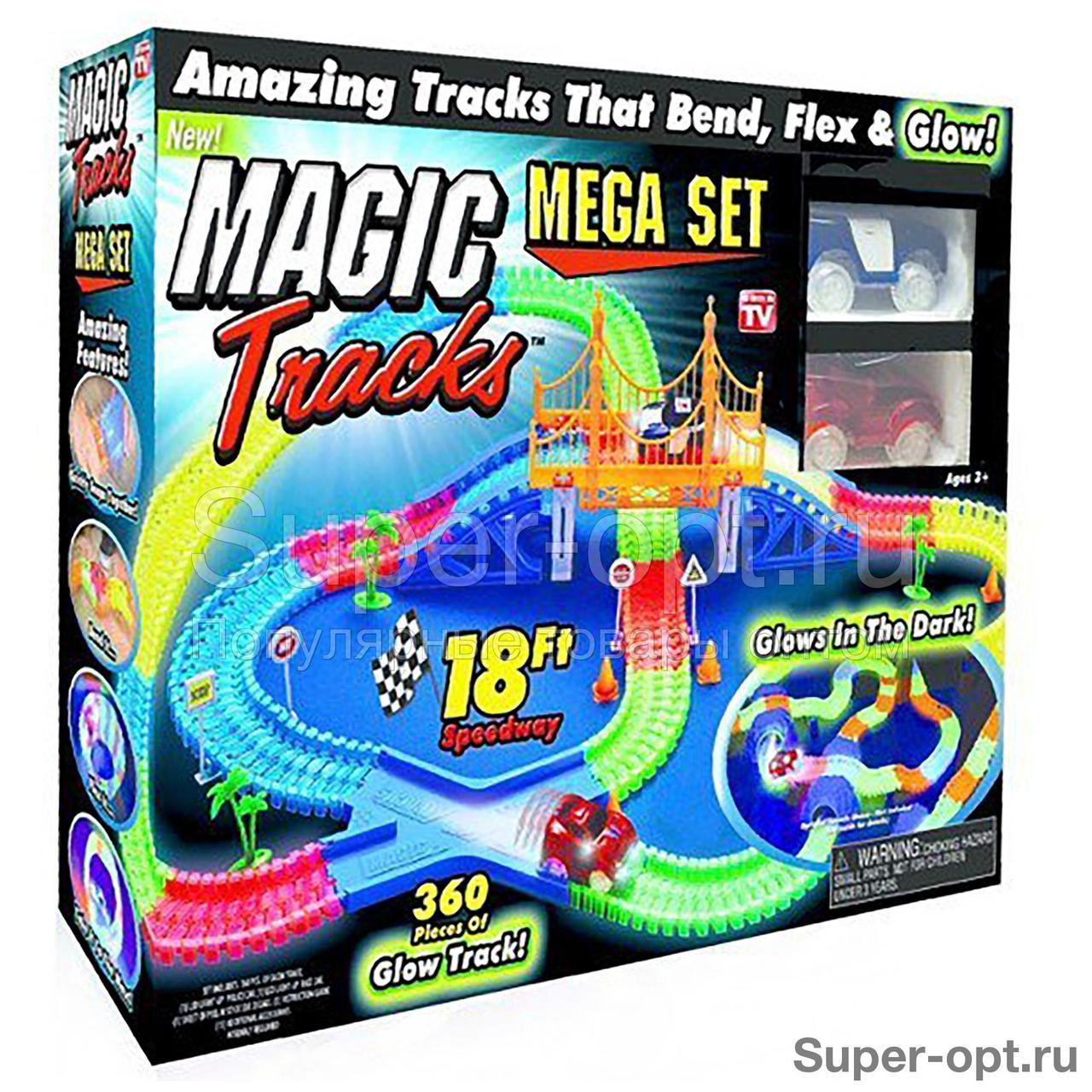 Светящаяся гоночная трасса MAGIC TRACKS (МЭДЖИК ТРЭКС) 360 деталей с мостом