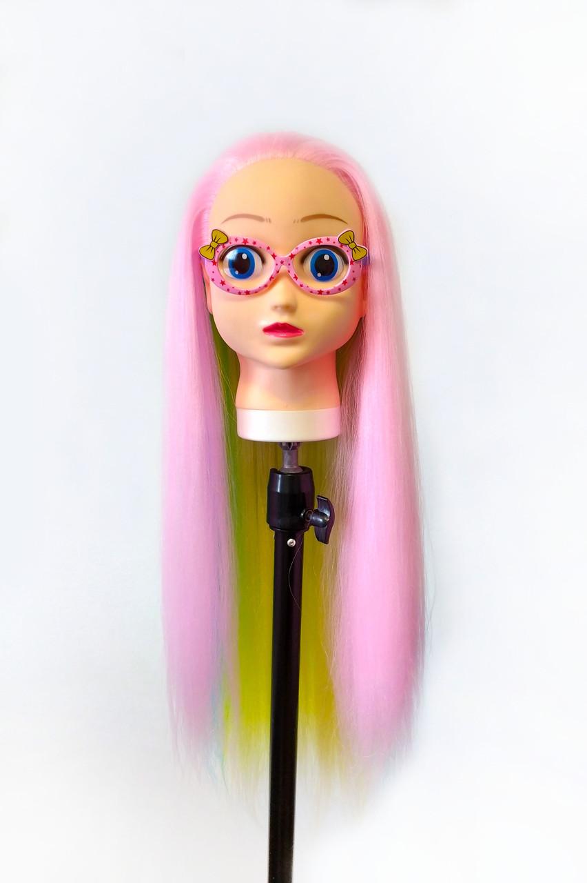 Голова-манекен (аниме) розовый волос искусственный - 60 см