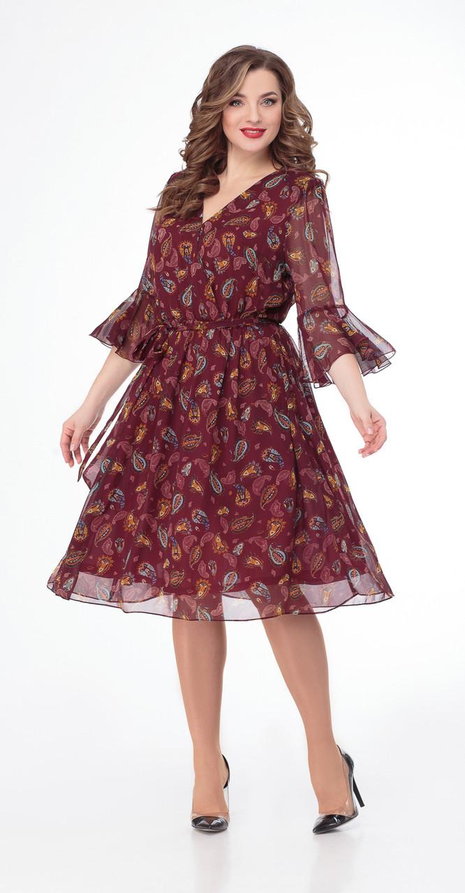 Платье Дали-3451, бордо, 44