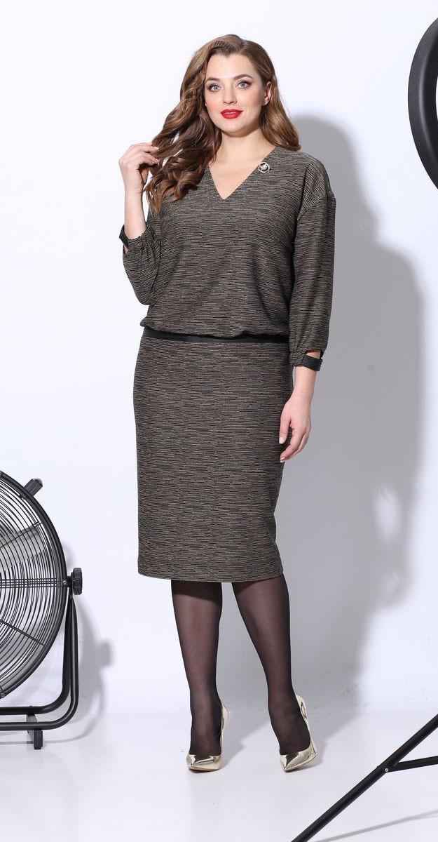 Платье КаринаДелюкс-В-225/1, охра, 60