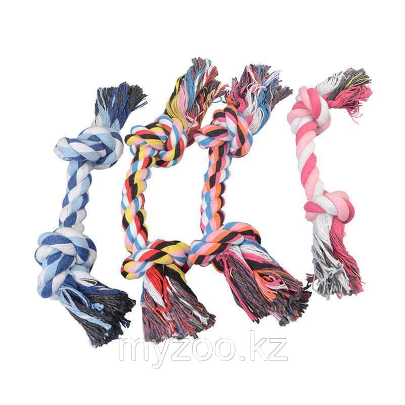 Игрушка для собак. Плетеная веревка из чистого хлопка для игры.  3 цвета. Длина веревки 28см.