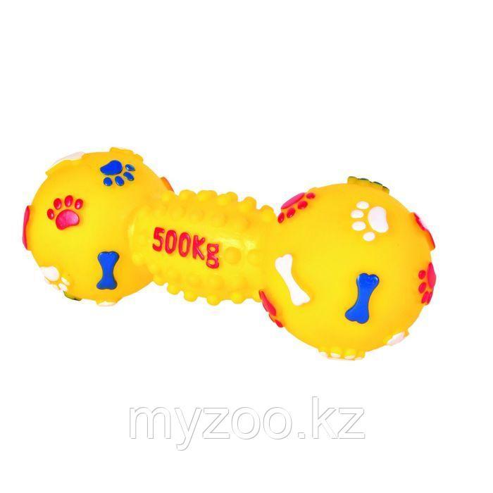 Игрушка для собак. Гантель со звуком. Винил.  Длина 15 см Цвет различный