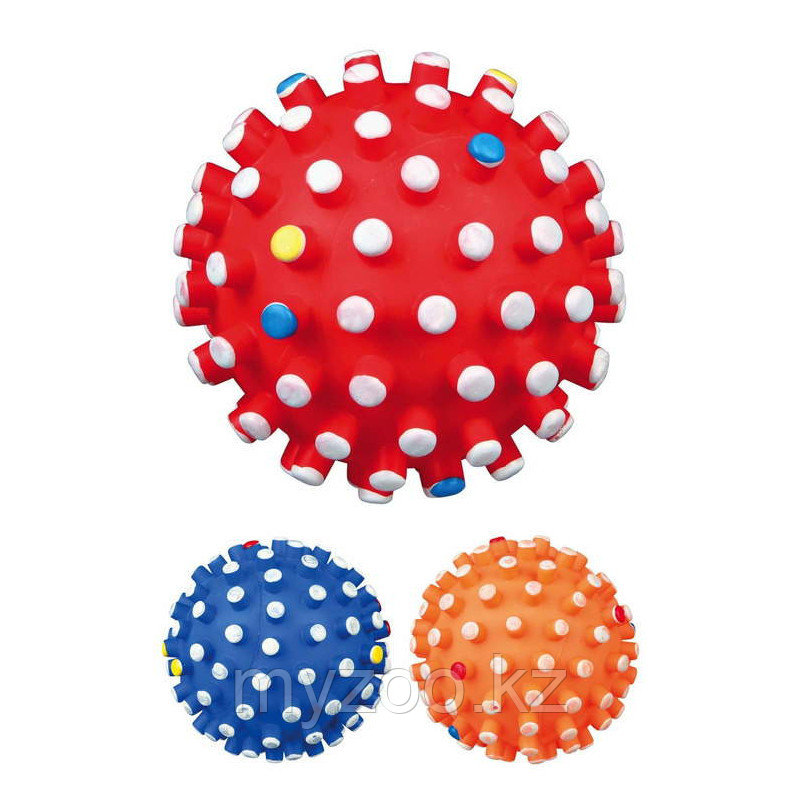 Игрушка для собак, мяч с шипами, со звуком, винил.  Разный цвет.          ø 12 cm