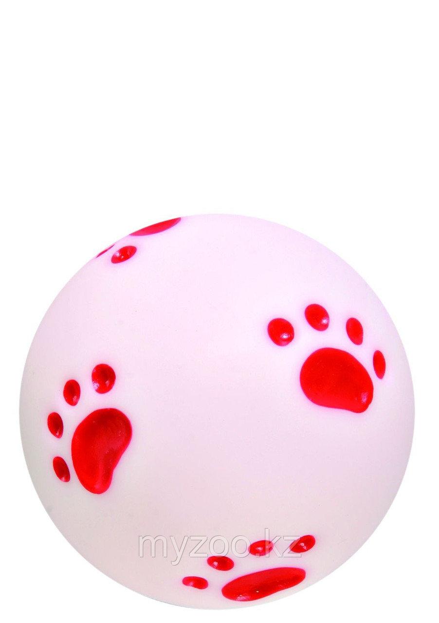 Игрушка для собак. Мячик с рисунком-лапками, со звуком.  Винил. Диаметр ø 10 см.