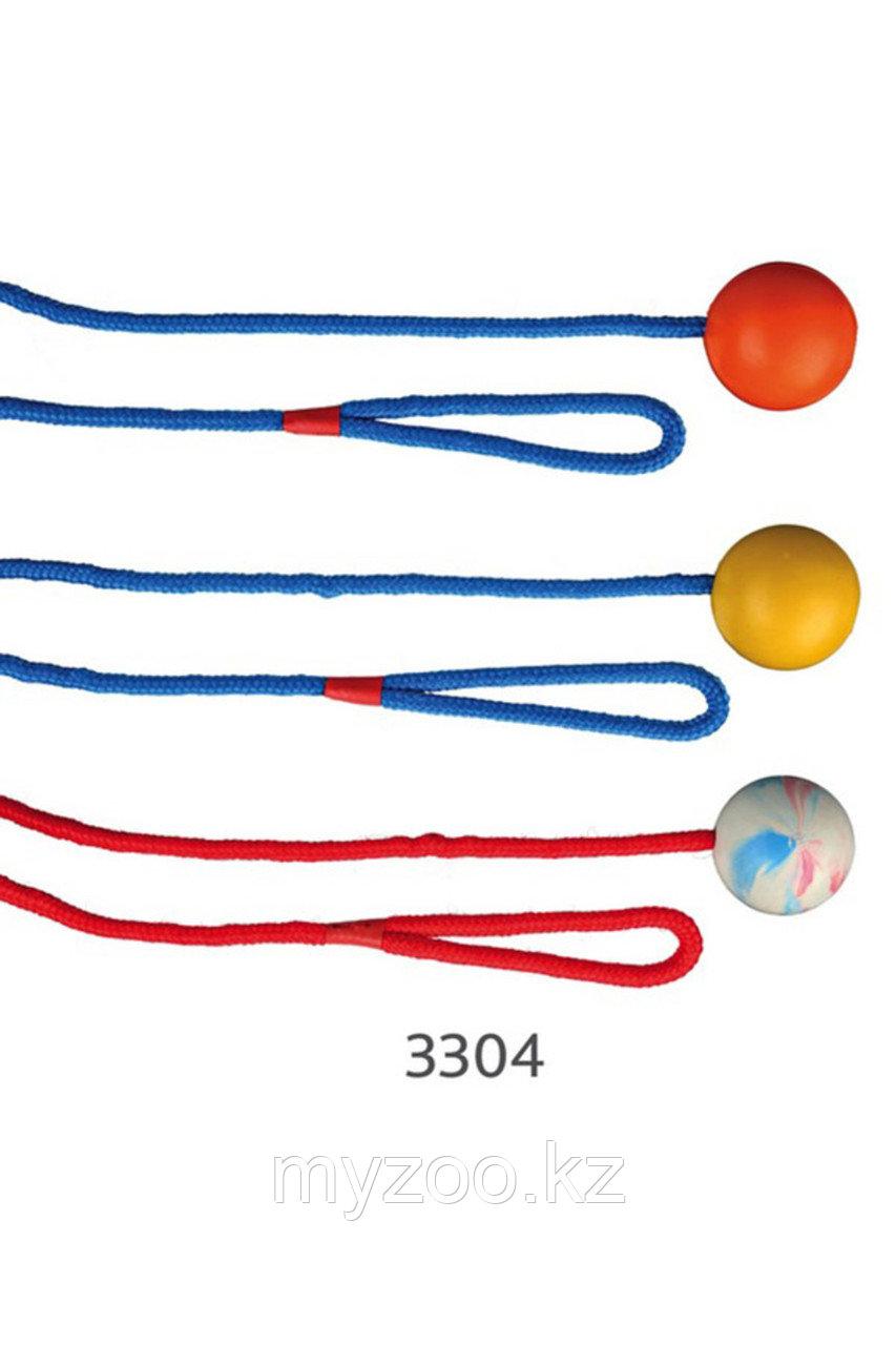 Игрушка для собак.  Мяч из натурального каучука на веревке, различные цвета. Мяч - ø 5 cm. Длина веревки -1м.