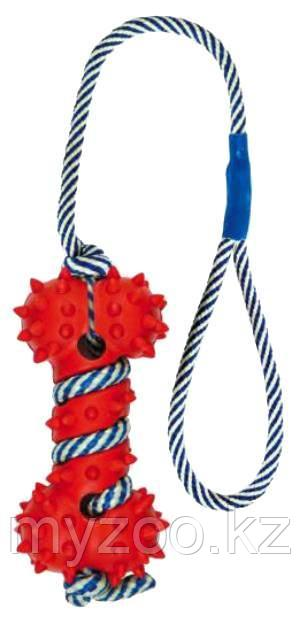 Игрушка для собак, кость каучуковая на веревке. Веревка светится в темноте. Косточка 11см,
