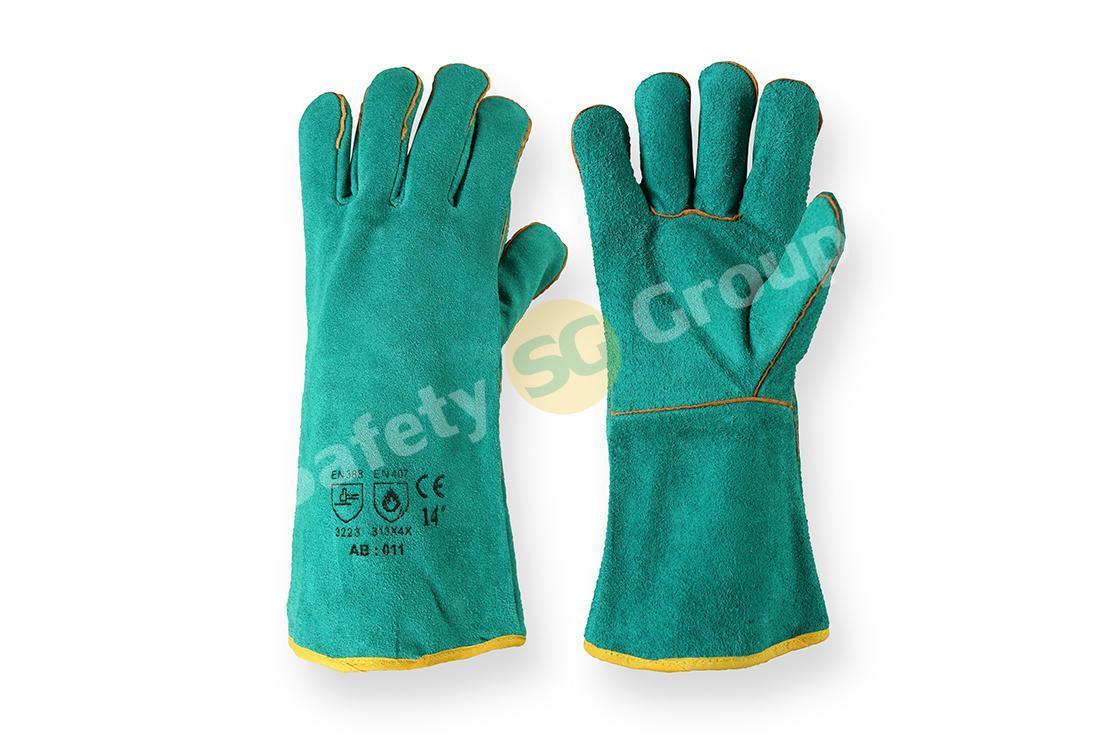 Перчатки сварочные (краги) синие/зеленые