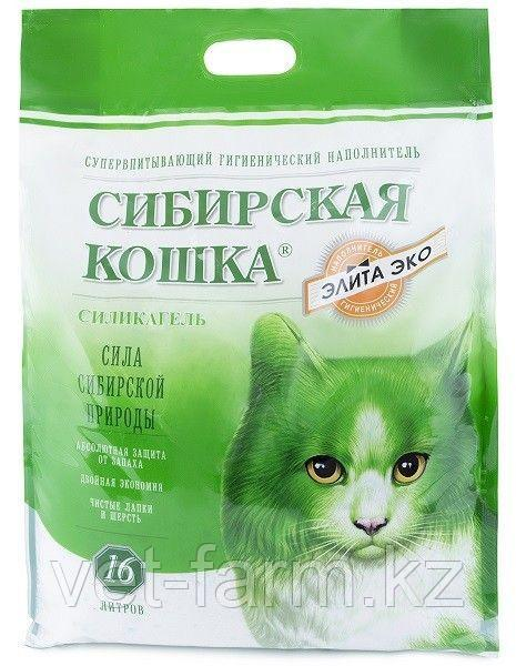 Наполнитель Сибирская кошка Элитный 16 л силикагель ЭКО