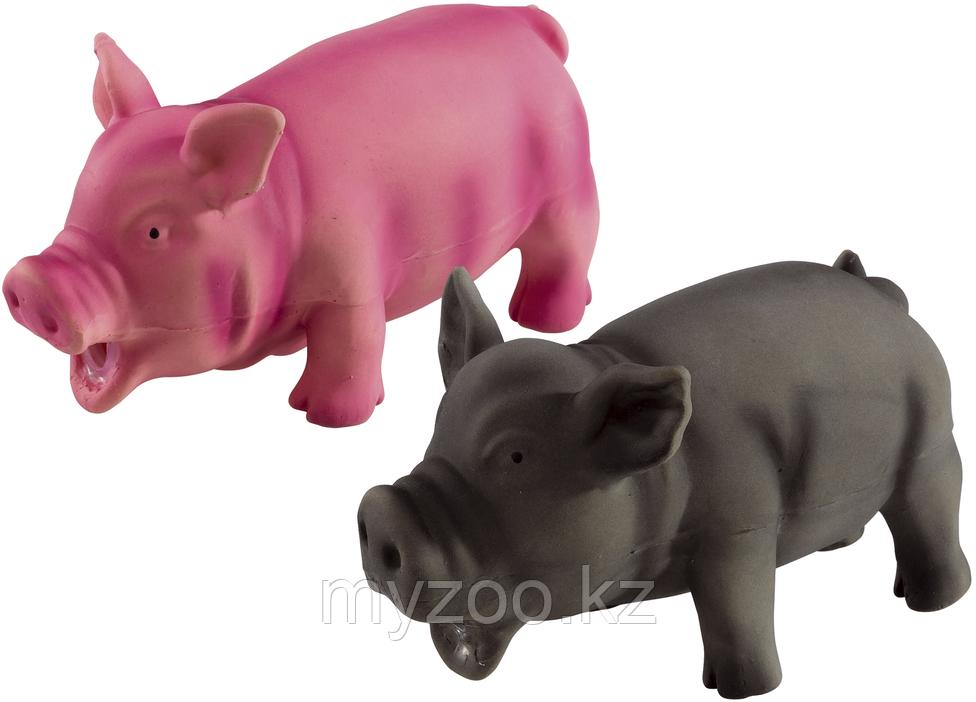 Игрушка для собак. Свинка из латекса, с флисовым наполнением, имитирует звук животного. Р-р  17 cm, цвет серый