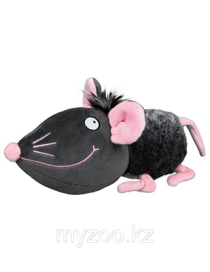 Игрушка для собак. Плюшевая мышь. Со звуком и шелестящей фольгой. Длина 33 см