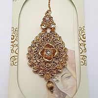 Тика - индийское украшение на голову, Золотистая с камнями.
