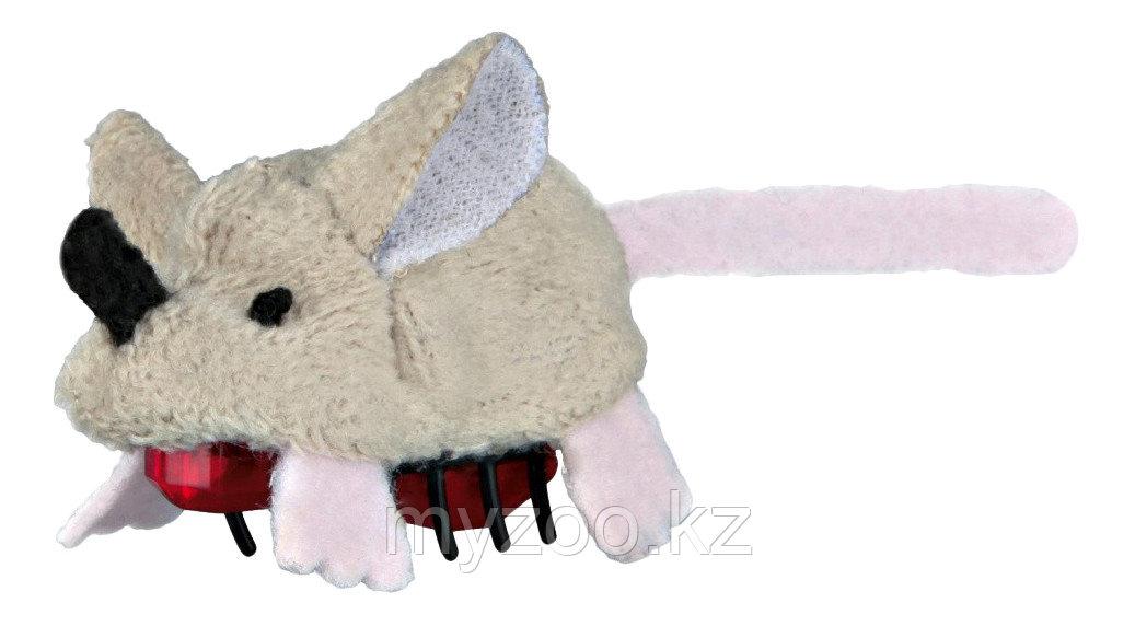 Игрушка для кошек. Мышь плюшевая на батарейках. Размер 5,5 см