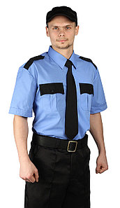 Рубашка охранника мужская голубая с черным в Алматы