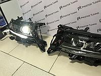 Передние фары черные с бегущим поворотником TLC Prado 2018+, фото 1
