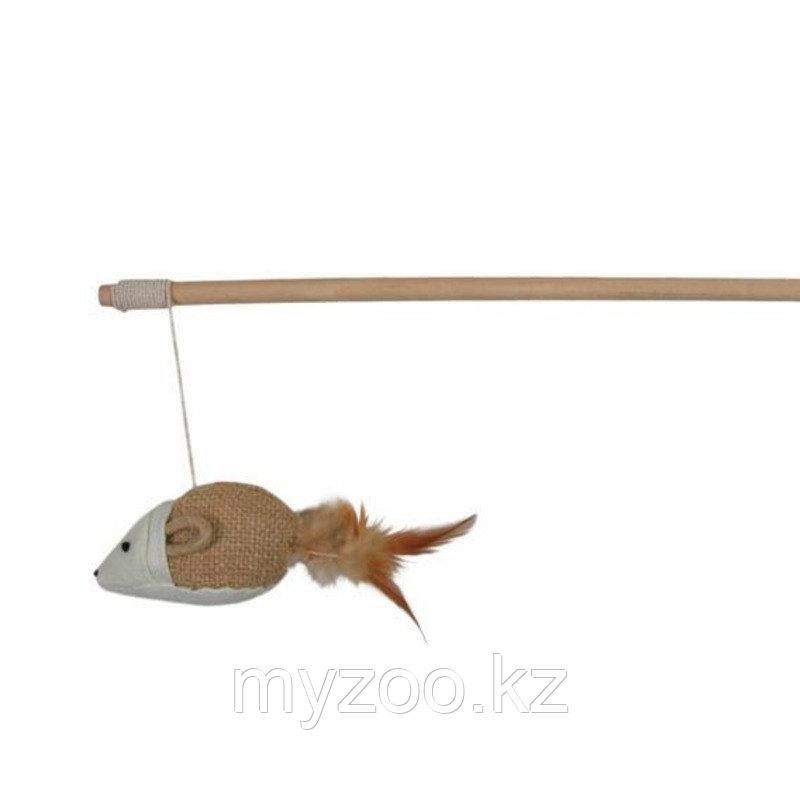 Удочка из дерева для игры с кошками. Джутовая мышь с перьями. Длина удочки 50см.