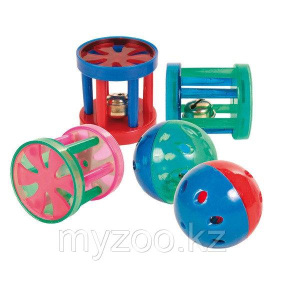Набор игрушек для кошек, состоит из мячиков и барабанов с колокольчиком внутри.  4.5 см