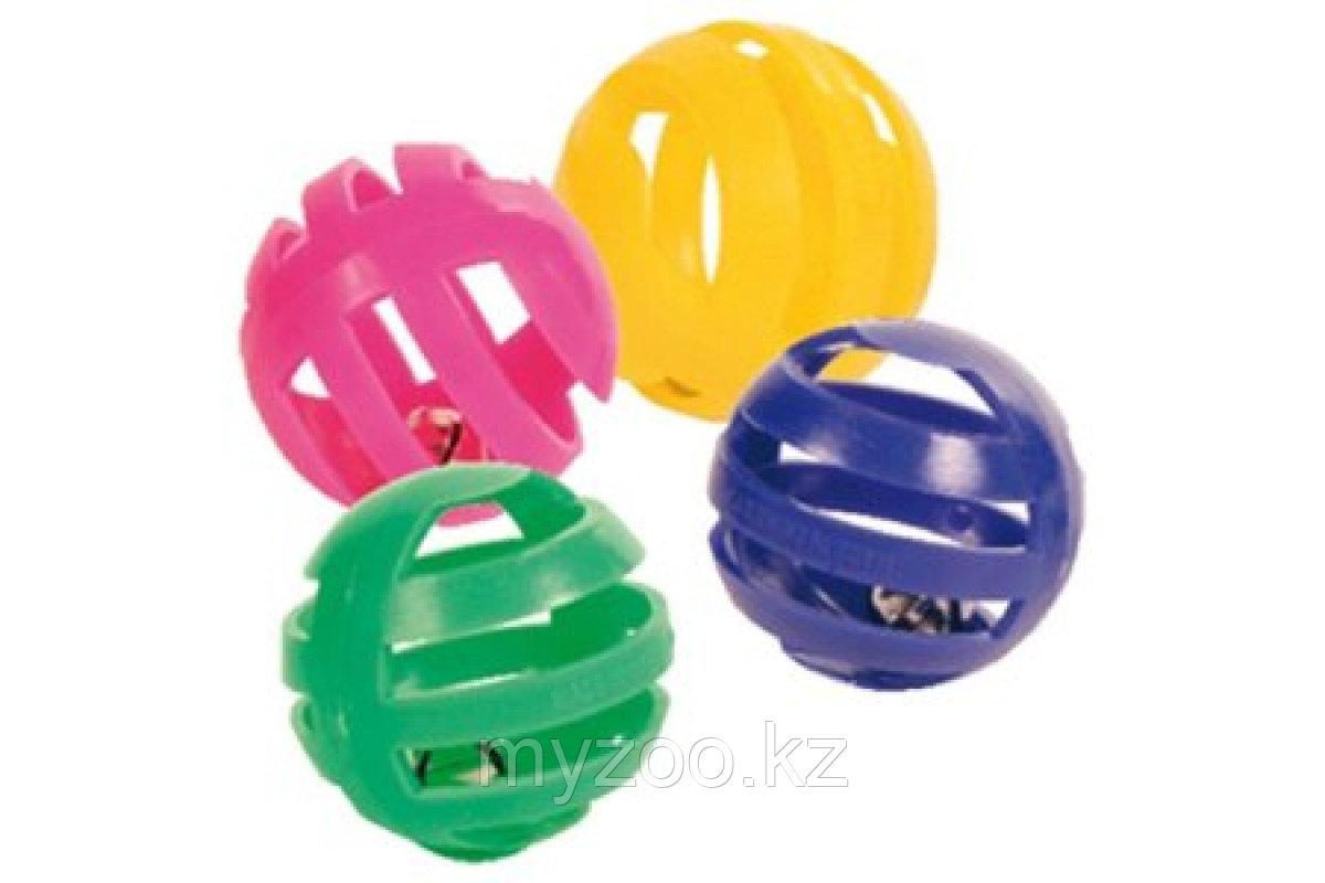 Игрушка пластик, мяч, с колокольчиком различные цвета. Диаметр 4 см.