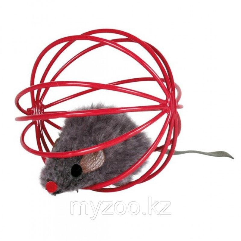 Игрушка для кошек. Металлическая сетка с мышкой. Диаметр 6 см