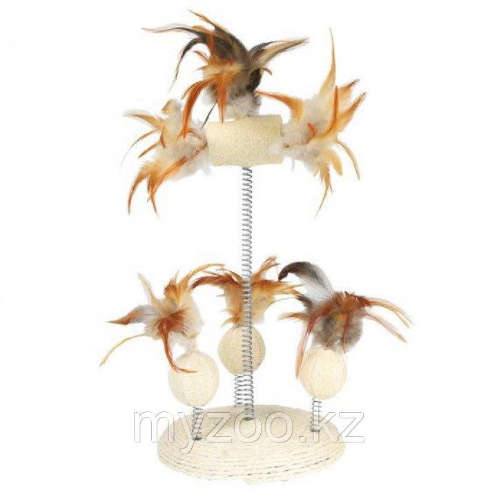 Игрушка дразнилка для кошек, сизаль и мочалка на пружинке с перьями. Ø15, высота 30 см