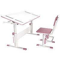 Растущая парта-трансформер Polini kids City D2  со стулом белый-розовый, фото 1