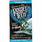 Nature's Plus, Source of Life, сила подростка, для него, без сахара, 60 жевательных таблеток