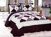 Одеяло-покрывало стеганое двуспальное с наволочками, 220х240см, AY-048 (Тёмно-бордовый)