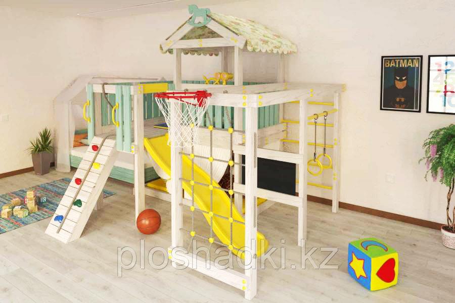 Детская площадка Baby play-8, игровой домик, балкон, швед. стенка, скалодром с канатом.