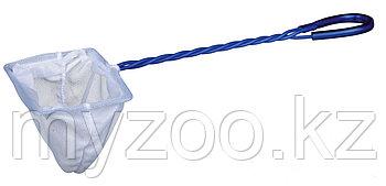 Сачок для аквариума. Тонкая сетка. Витая ручка, пластик. Р-р сетки  15 × 12 cm