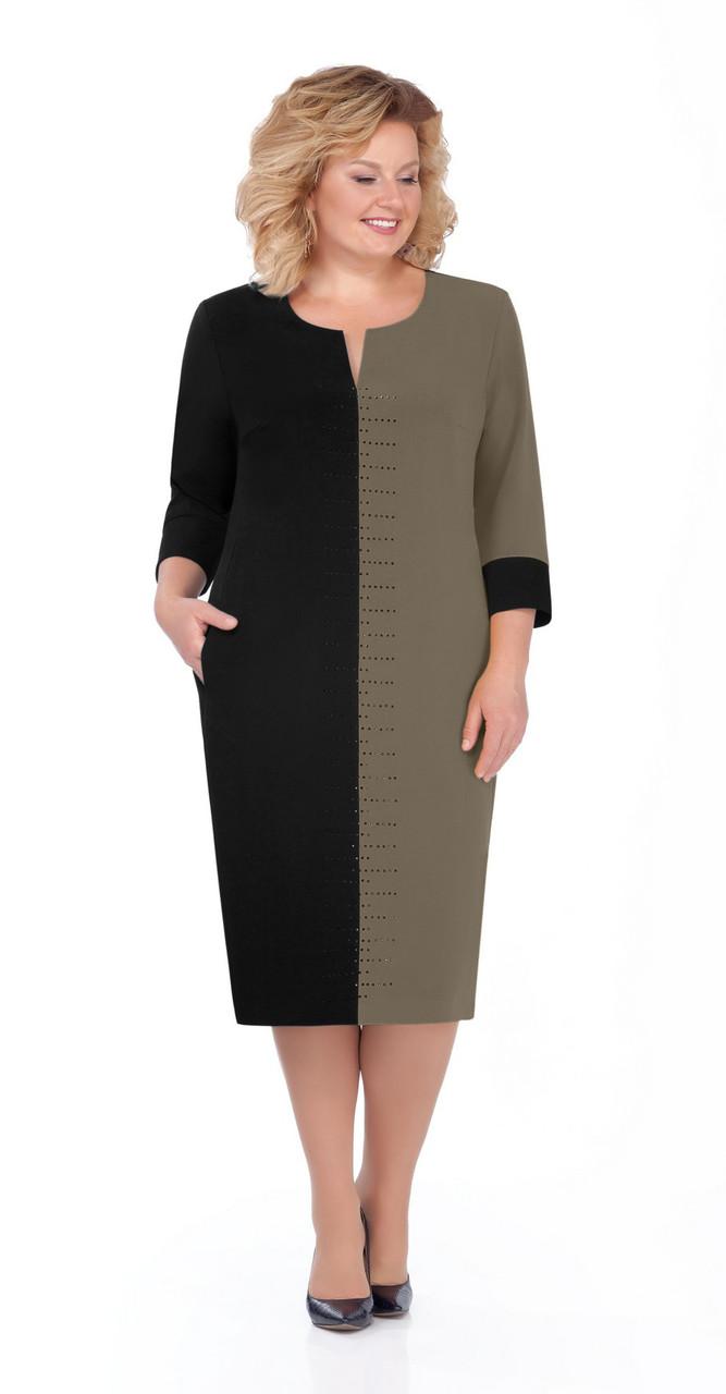 Платье Pretty-930/4, чёрный+хаки, 56
