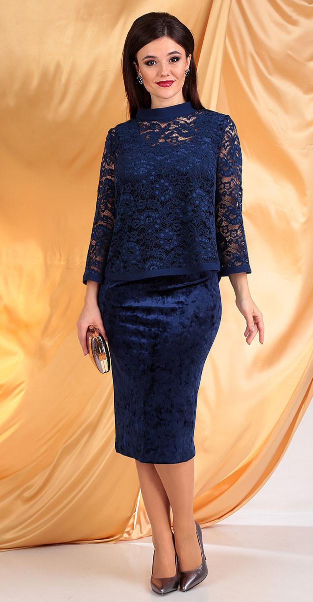 Платье Мода-Юрс-2536, синий, 52