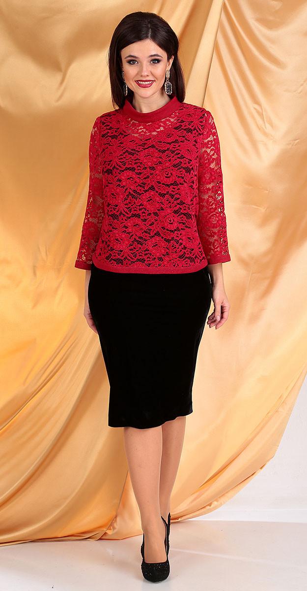 Платье Мода-Юрс-2536/2, красный-черный, 54