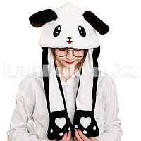 Шапка с двигающимися ушками светящаяся Панда меховая черно-белая