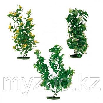 Декорация для аквариума. Пластиковые растения в ассортименте. Высота 25 сm. В наборе 3 вида по 2 шт. Цена за 1