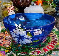 Салатник малый из цветного стекла с декором. Цвет: Синий. Набор: 2 штуки.
