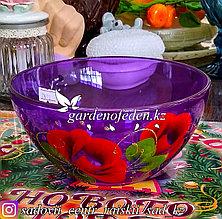 Салатник малый из цветного стекла с декором. Цвет: Сиреневый. Набор: 2 штуки.