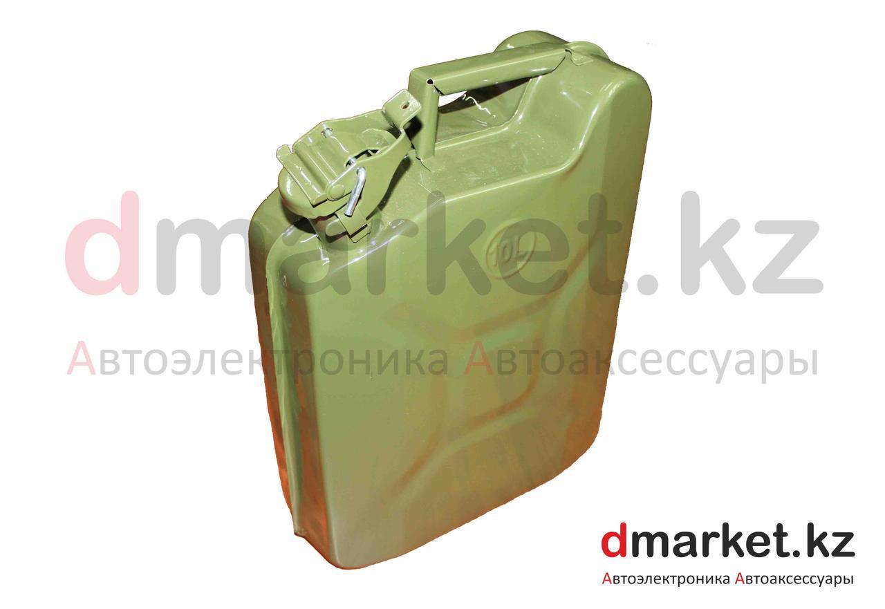 Канистра металлическая 10 литров, со стопорным кольцом, зеленая