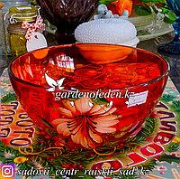 Салатник малый из цветного стекла с декором. Цвет: Красный. Набор: 2 штуки.