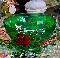 Салатник малый из цветного стекла с декором. Цвет: Зеленый. Набор: 2 штуки.