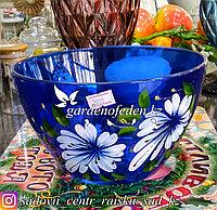 Салатник большой из цветного стекла с декором. Цвет: Синий. Набор: 1 штука.