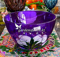 Салатник большой из цветного стекла с декором. Цвет: Фиолетовый. Набор: 1 штука.