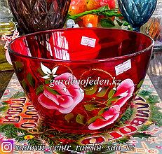 Салатница большая из цветного стекла с декором. Цвет: Красный. Набор: 1 штука.