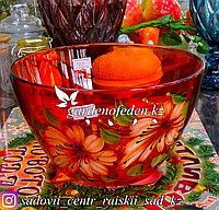 Салатник большой из цветного стекла с декором. Цвет: Оранжевый. Набор: 1 штука.